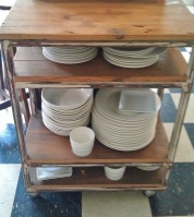 This industrial trolley, bought at Once Upon a Time in Rosebud, holds all the daily dinnerset - thesecondhandcity.com